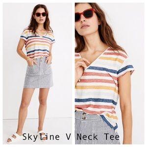Madewell Skyline V-neck Tee in J Stripe NWT